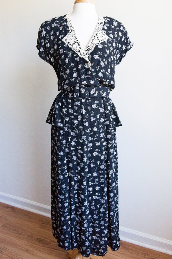 vintage peplum prairie dress, 80s floral peplum dr