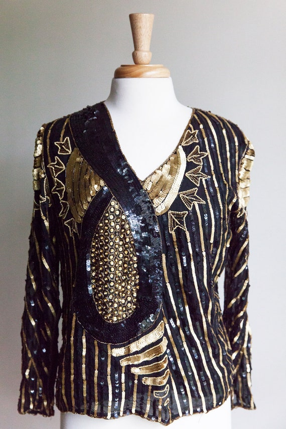 70s vintage sequin top, vintage sequin top, 70s se