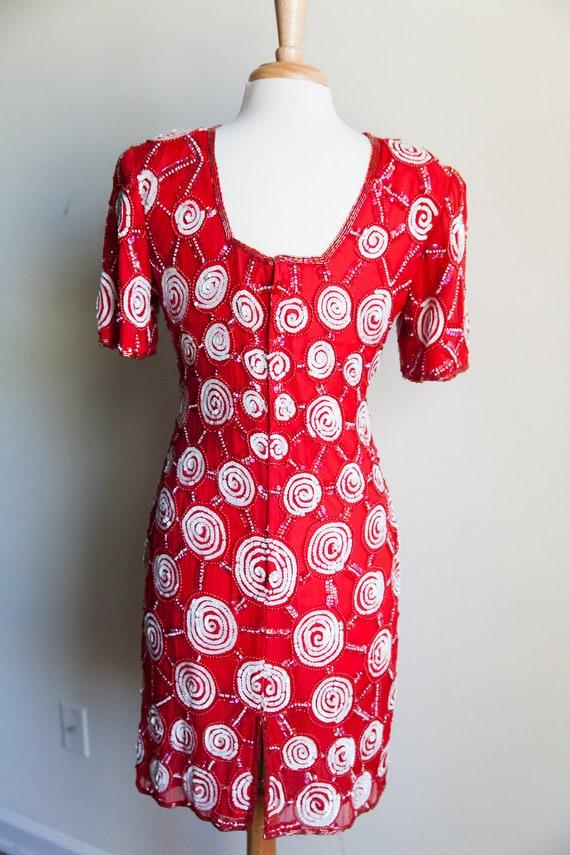 80s sequin peppermint party dress, 80s party dres… - image 5