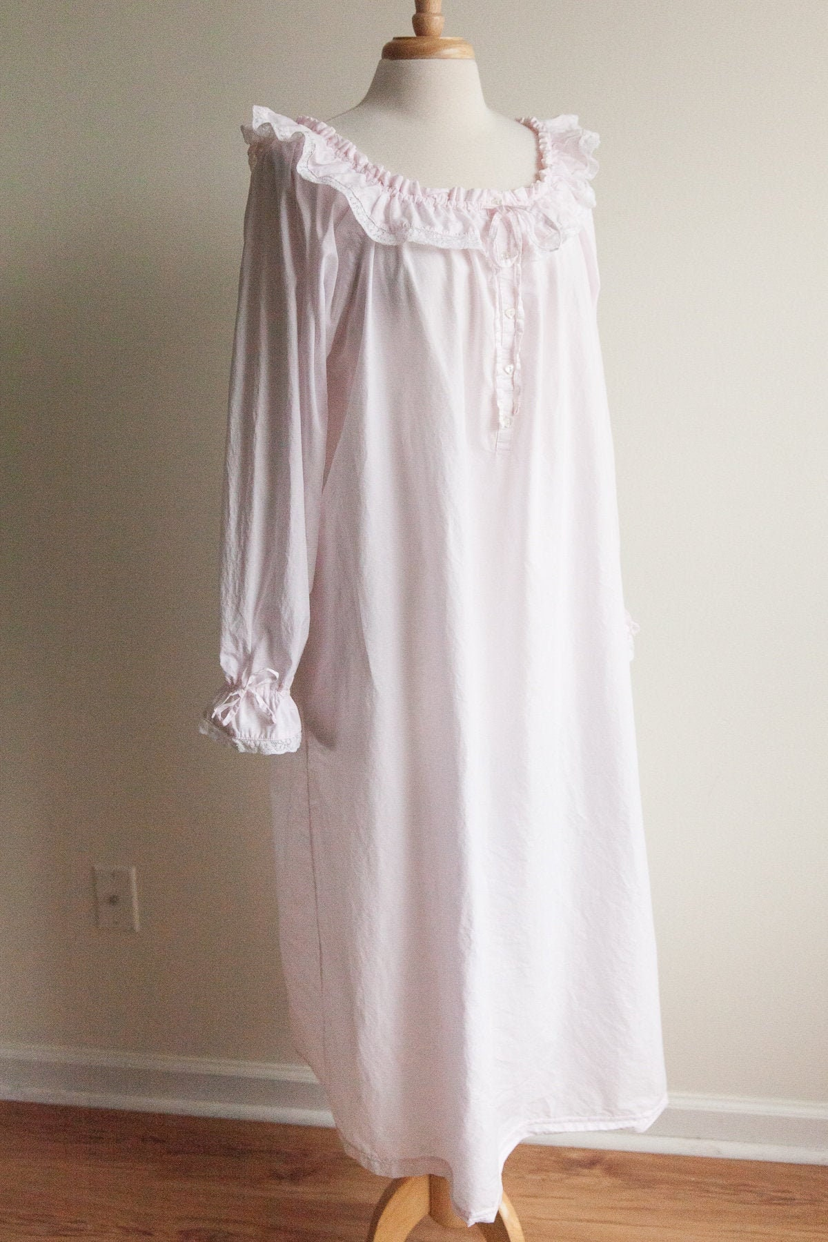 80s Dresses | Casual to Party Dresses Vintage Pale Pink Cotton Nightgown, 1990S 90S Laura Ashley Lace Ruffle Boho Victorian Vibes, Large Xl $0.00 AT vintagedancer.com