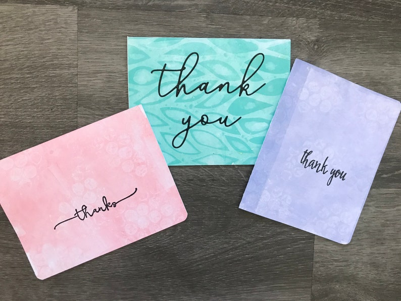 Set of 3 Pastel Thank You Cards Wedding Thank You Minimalist Thank You Cards Appreciation Cards