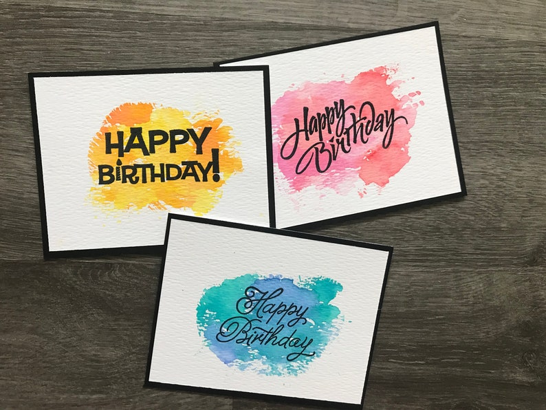 Hand Painted Watercolor Birthday Cards