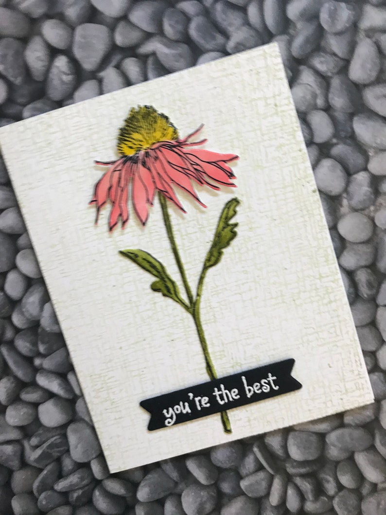 Floral Hand Stamped Thank You Cards Set of Three Mixed Media Hand Painted Cards Appreciation Cards Matching Envelopes