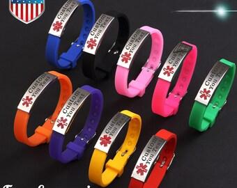 Custom4U Personnalis/é Bracelet dIdentification-Alerte M/édicale SOS-Bracelet Sport ID-Bracelet dAllergie-Bracelet de M/édicaments en Acier R/églable pour Hommes Femmes Gravure Gratuite Personnalis/é