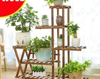 Pine Wood Stand For Plants, Bathroom, Bookcase, Shelf, Rack Corner Flower Holder Indoor Garden, Plant ladde