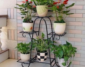 6 Tier Metal Plant Stand, Decorative Flower Pot Rack Planter Holder Display Rack Perfect for Indoor and Outdoor Patio Garden (Black)