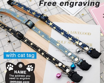 Star Cat Collar tag, Personalized Cat Collars, Cloth  Cat Collar, Safety Cat Collar, Cat Collars with Bells or ID Tags for Cats