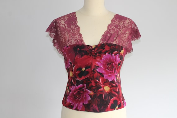 Rare 2000s Y2K Dolce and Gabbana lace floral top