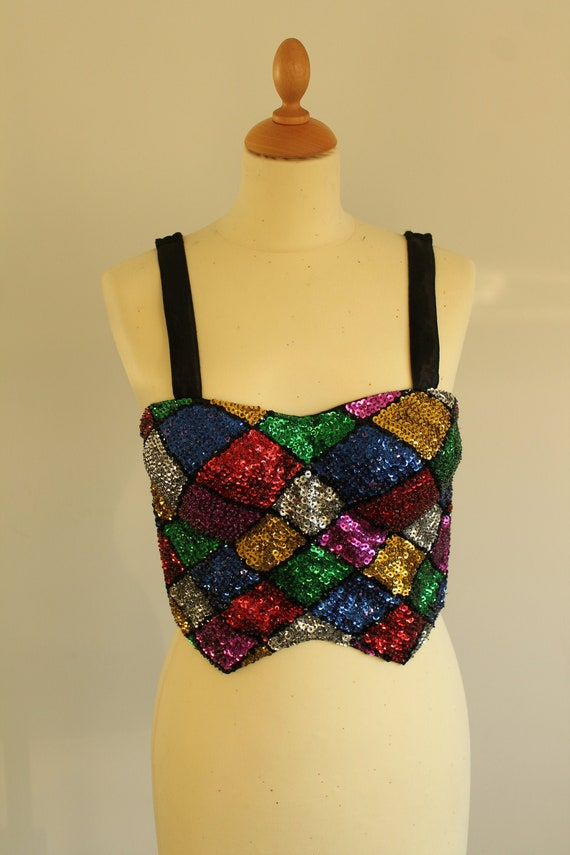 1980s harlequin seguin party bustier - image 2