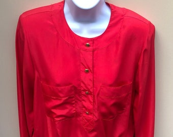 Beautiful Red Vintage Early 1980's Blouse by Josephine - Never Worn... Tags Still On!
