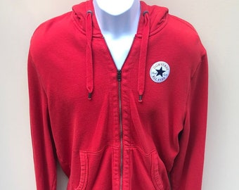 Converse Full Zip  Chuck Taylor All Star Logo Red Hooded Sweatshirt