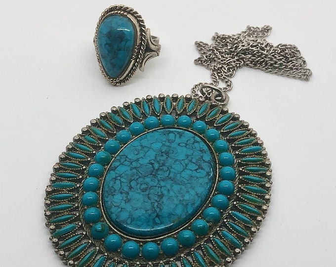 1970's Large Southwest Style Faux Turquoise Pendant Necklace and Ring