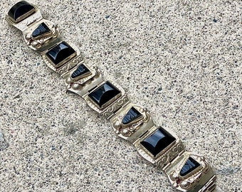 Vintage 925 Sterling Silver and Black Onyx Taxco Bracelet Made in Mexico