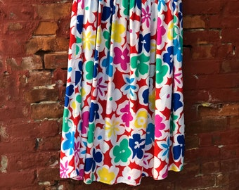 1970's Fun and Colorful Floral Design Skirt by STEFANIE