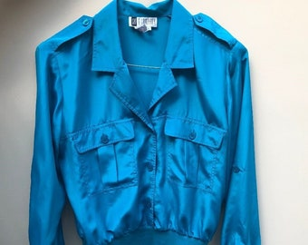 Vintage Early 80's Bomber Blouse / Shirt by SK & Company - EXCELLENT Condition - VERY cool!