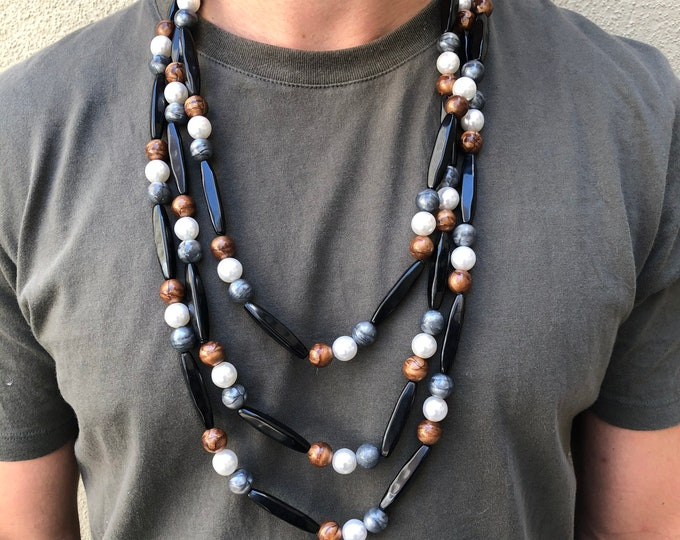 Vintage Black, Grey, White & Copper Colored Large Beaded Necklace