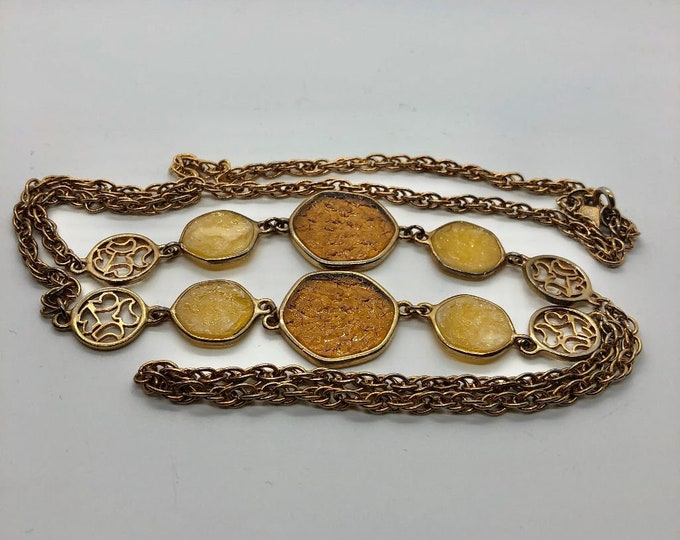 """Vintage 1970's Sarah Coventry Stained Glass Style 36"""" Necklace"""