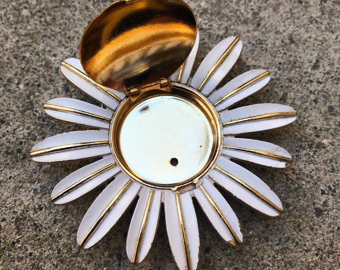 1960's Avon Sunflower Brooch White Enamel Daisy Avon Solid Perfume Glace Holder