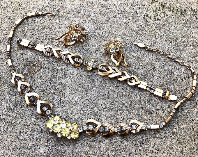 Vintage Sarah Coventry Monte Carlo Parure Necklace, Bracelet, and Earrings Set
