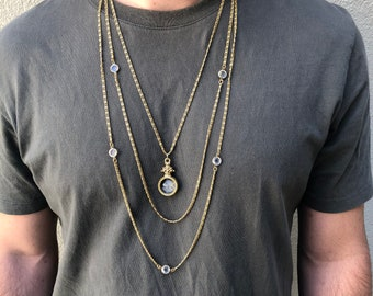 Vintage Goldette Multi Strand Itaglio Reverse Cameo Necklace