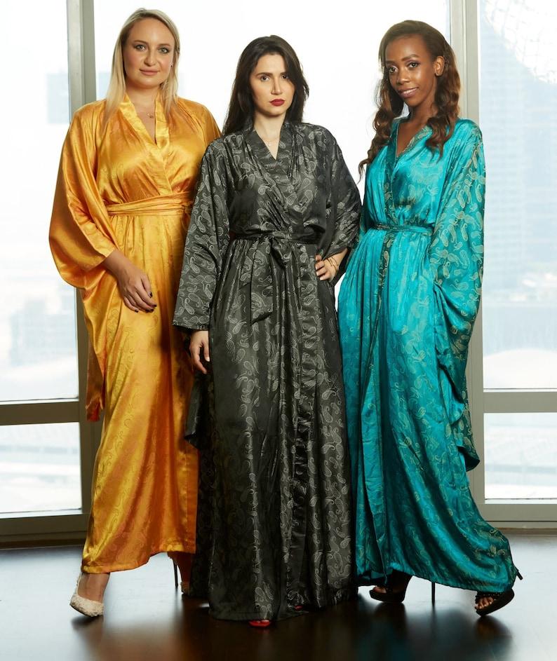 1940s Sleepwear: Nightgowns, Pajamas, Robes, Bed Jackets Yellow gold Kimono Robe plus size dressing gown Yukata loungewear nightgown lingerie duster coverup getting ready robe Shibori furisode $180.00 AT vintagedancer.com