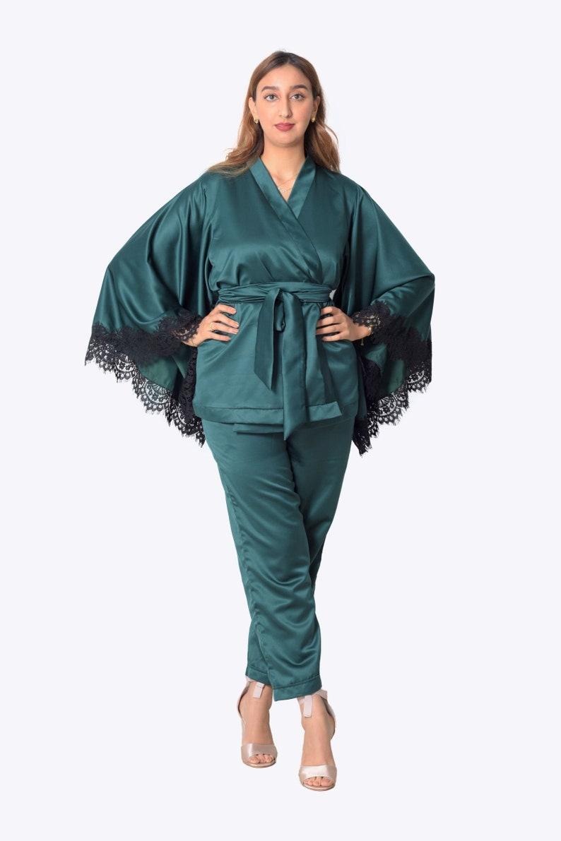 1920s Nightgowns, Pajamas and Robes History Duchess green satin pajamas pant set loungewear PJs kimono wrap top plus size matching separates co-ord pant set 2 piece outfits blouse maxi $160.00 AT vintagedancer.com