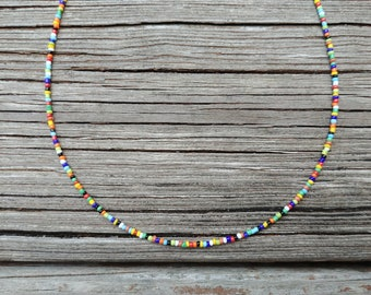 SALE Seed Bead Necklace Beach Jewelry Retro Hippie Costume Music Festival Surfer Girl Bohemian Matching Necklaces Teen Adult BFF Gift