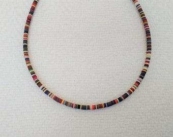 BEADED HEMP NECKLACE W SILVER BEAD hippie jewelry 101 mens womens new beads