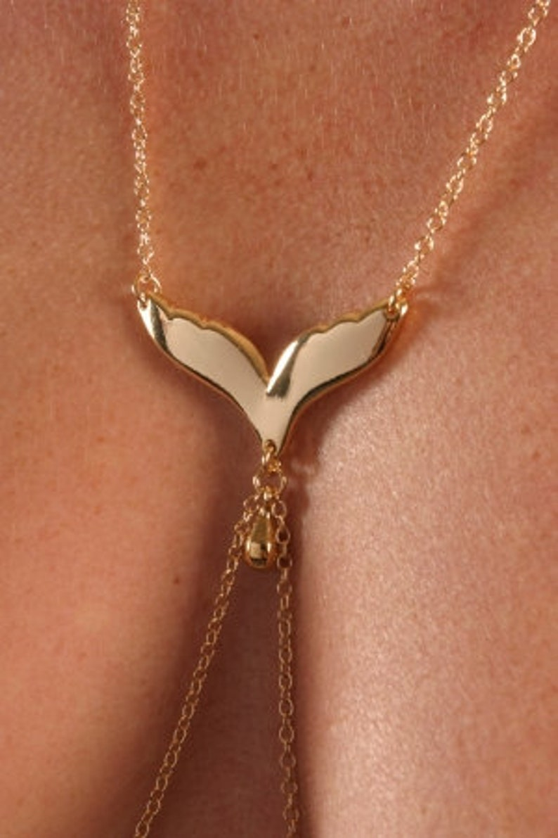 Pendant and Tear Drop Nipple Pendants in Gold Gull Wing Necklace with Nipple Chain
