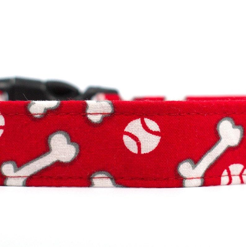 Dog Collars 100/% Soft Cotton Fabric Collars Colorful Collars and Play Time Baseball Bones Playful