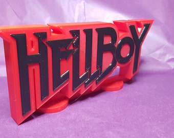 Hellboy - 3D Printed comic book logo - This is a great piece of shelf art for your display.