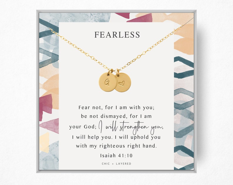 Wisdom Purpose \u2022 Scripture Gift \u2022\u00a09mm Disc \u2022 14k Gold Filled and Sterling Silver Fearless Gift Necklace \u2022 Gift for Faith Encouragement