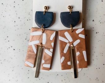 SCOUT in copper, white & black   Polymer Clay Statement Earrings, Modern Earrings, Handmade Earrings