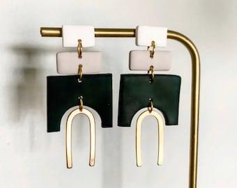 EDEN - Neutral   Polymer Clay Statement Earring, Modern Earrings, Geometric Earrings, Handmade Earrings
