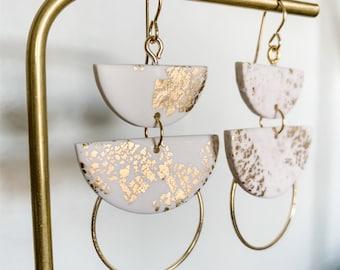 DYLAN - White & Gold   Polymer Clay Statement Earrings, Modern Earrings, Handmade Earrings, Bridal Earrings