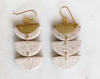 NOEL- White Stone   Polymer Clay Statement Earrings, Modern Earrings, Handmade Earrings