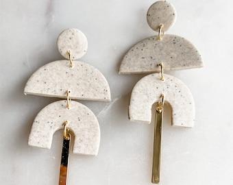 KATALINA - Stone   Polymer Clay Earrings, Modern Earrings, Geometric Earrings, Stone Earrings