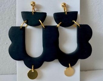 ADELE - Solid Black   Polymer Clay Statement Earrings, Modern Earrings