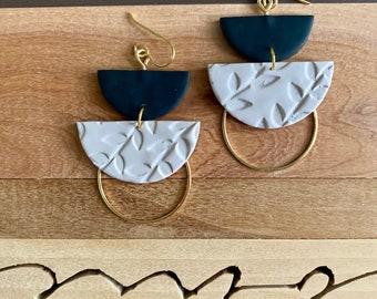 DYLAN in black & greige (floral)   Polymer Clay Statement Earrings, Modern Earrings, Handmade Earrings