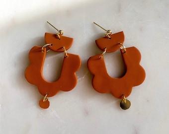 ADELE - Terracotta   Polymer Clay Statement Earrings, Handmade Earrings, Modern Earrings, Unique Earrings