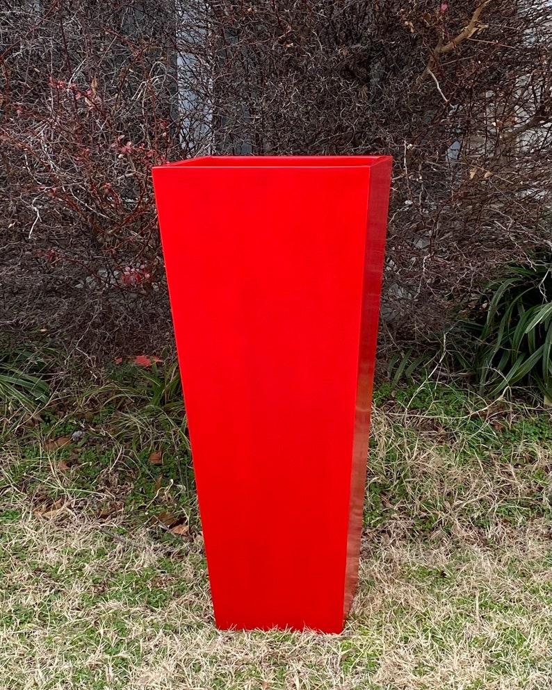 23-47 Inches Tall Fiberglass Planter,Plant Pots Garden Planter Planter In Apple Red