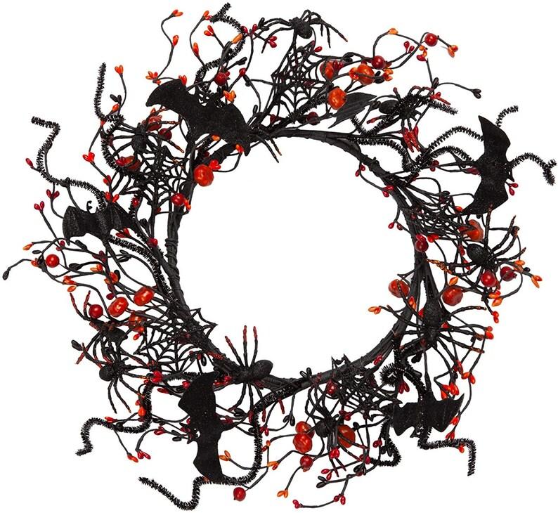 16 inch Artificial Halloween Wreath Spider Pumpkin Wreath image 1