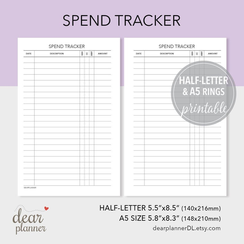 image about Spending Log Printable called Printable Pay Tracker Add - Everyday Paying Log - Investment decision Behaviors - Money Planner Add - 50 percent Letter / A5 measurements - H48