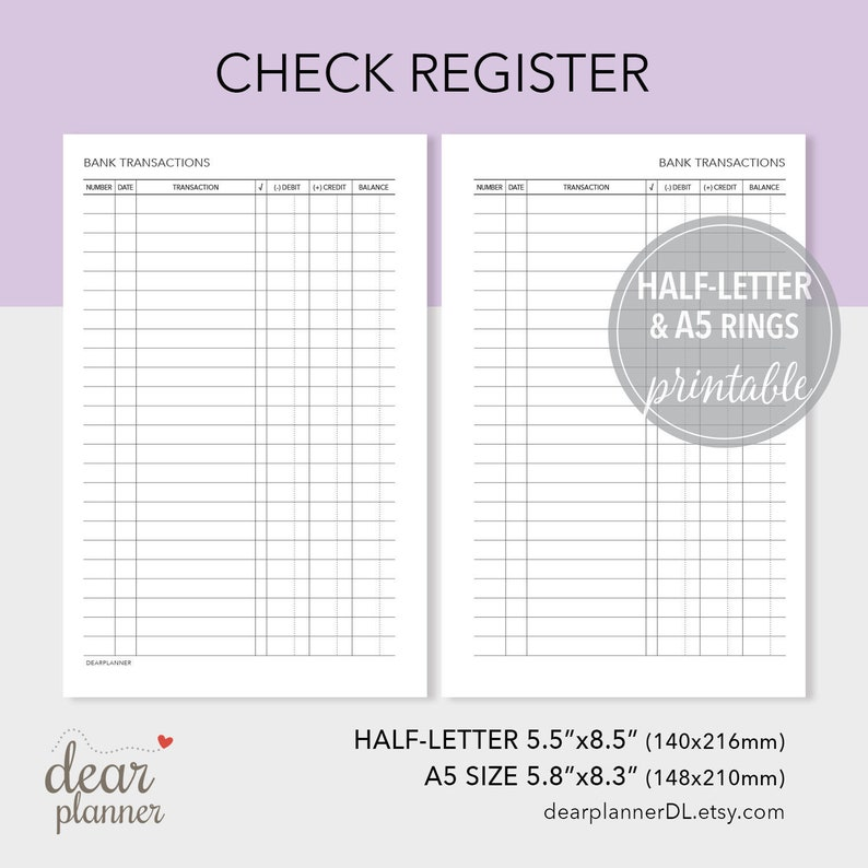 picture about Printable Checkbook Register called Printable Checkbook Sign up - Financial institution Transaction Tracker - Economic Planner Add - Fifty percent Letter / A5 dimensions - H35