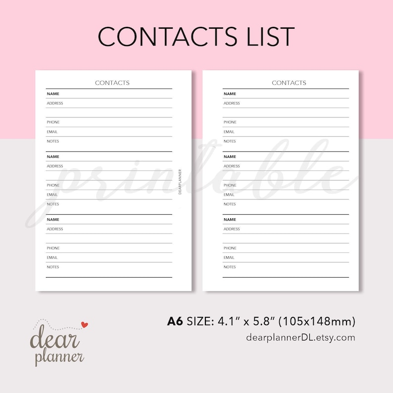 picture regarding Printable Phonebook named Printable Make contact with Checklist Incorporate - Phonebook Cover Keeper - Get hold of Written content - Genuine A6 dimension ring planner - AS34