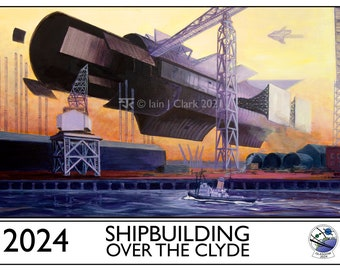 Shipbuilding Over the Clyde - PRINT - Giclée print of my original artwork for the Glasgow in 2024 Worldcon bid