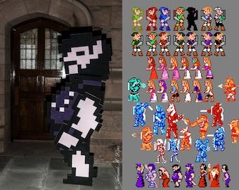 Link and Princess Zelda Pixel 2D Cosplay Costumes NES Legend of Zelda II 2 Adventure for Nintendo Halloween