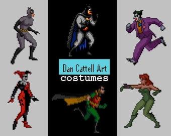 Pixel Costume: Batman, Robin, Harley Quinn, Joker, Catwoman, Poison Ivy DC Comics superheroes and villains 8-bit Cosplay