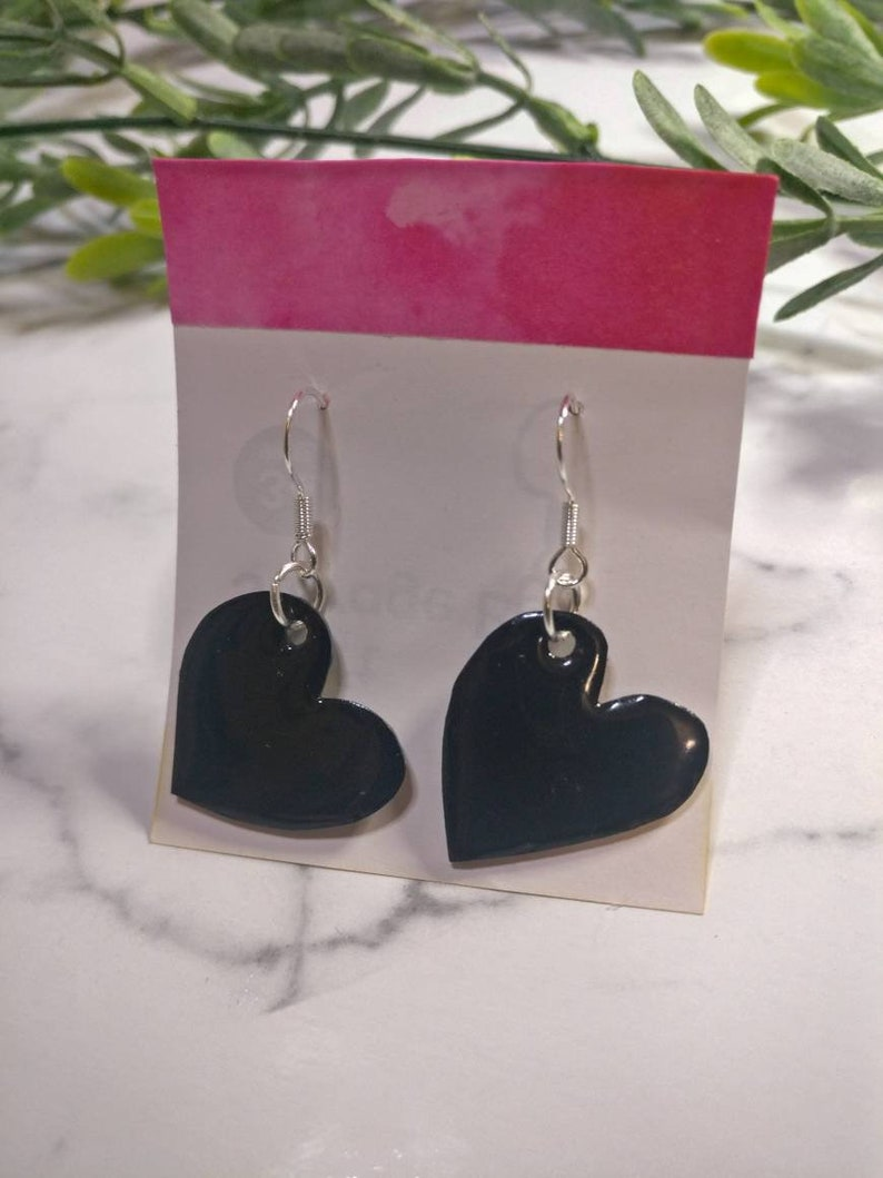 Full or Broken Heart options available Black Hearts Dangly Earrings 925 Silver Resin coated Recycled Shrink Plastic Jewellery