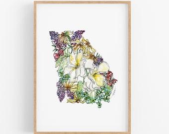 Georgia Fine Art Print: Map of Georgia featuring local Georgia flowers /// Art Prints, Housewarming gift, anniversary gift, Christmas gifts